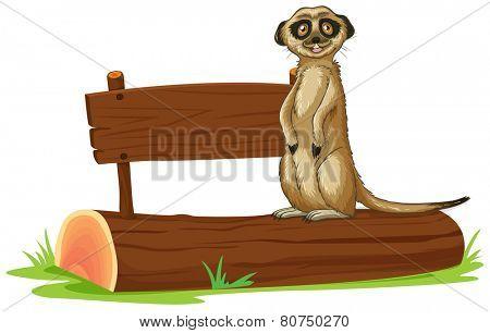 Illustration of a meerkat standing on a log