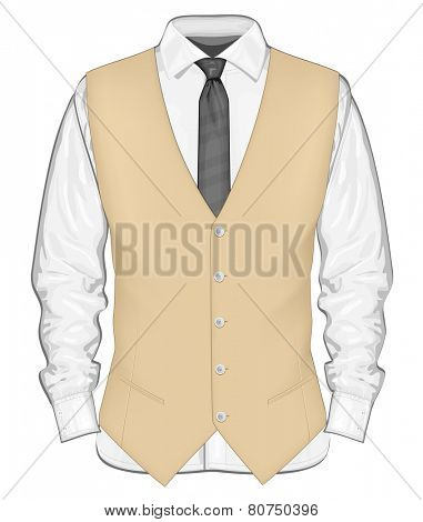 Formal wear for men. Dress shirt with waistcoat. Vector illustration.