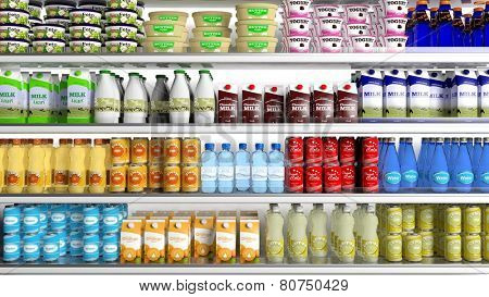 Supermarket refrigerator with various products