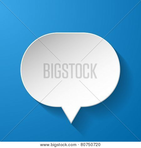 Abstract paper speech bubble on blue background. Vector eps10 illustration