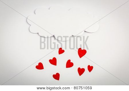 Paper heart shape with cloud symbol for Valentines day with copy space for text or design