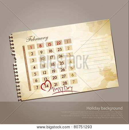 vector grunge background for Valentine's day, with the calendar sheet