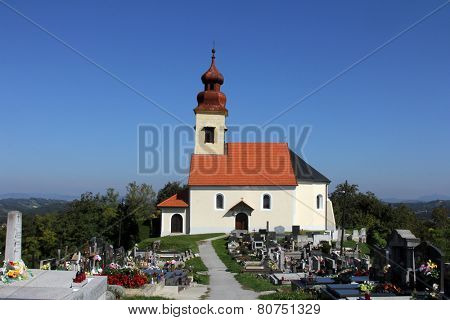 JEZERO KLANJECKO, CROATIA - SEPTEMBER 24: Cemetery with the chapel of St. George in Jezero Klanjecko, Croatia, on September 24, 2013.