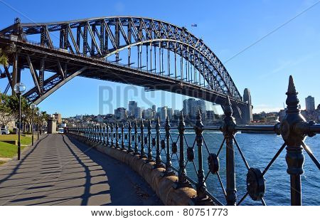 Sydney Harbour Bridge & Railings From Dawes Point Park.