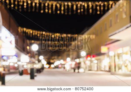 Defocused view of small swedish town