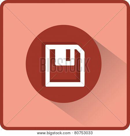Floppy disk. Flat modern web button