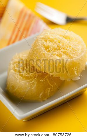 Popular Filipino sweet - pichi Pichi cakes stacked on each other