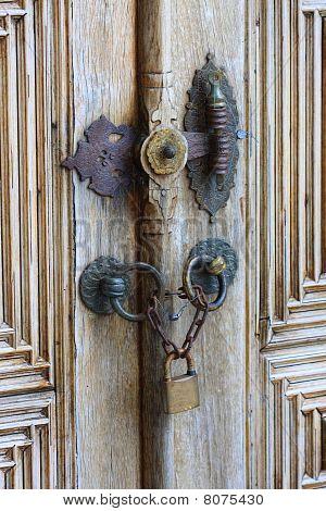Old Iron Security Lock Of Ornamental Wooden Door