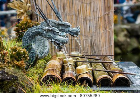 Metal Dragon Sculpture With Water Breathing.