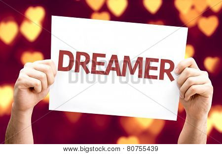 Dreamer card with heart bokeh background