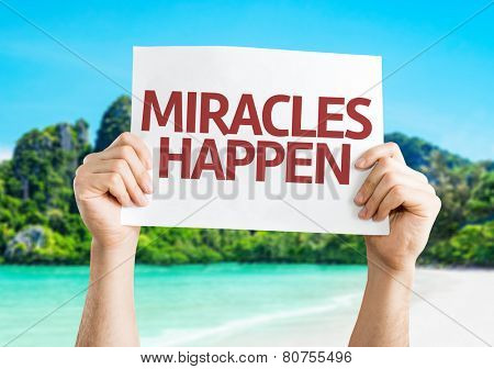Miracles Happen card with a beach on background