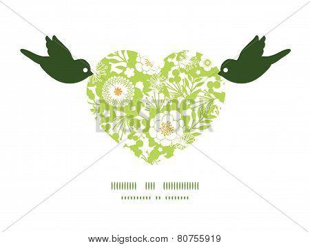 Vector green and golden garden silhouettes birds holding heart silhouette frame pattern invitation g