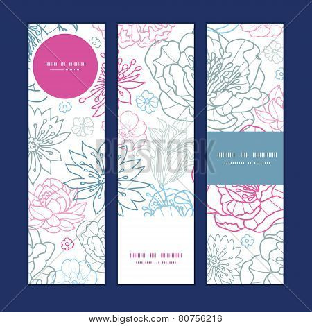 Vector gray and pink lineart florals vertical banners set pattern background
