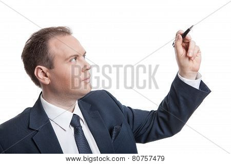 Portrait Of Businessman Writes