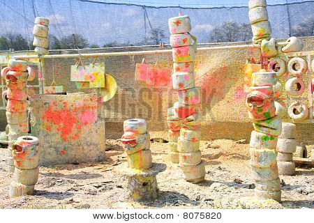 Colorful Paintball Exercise Ground