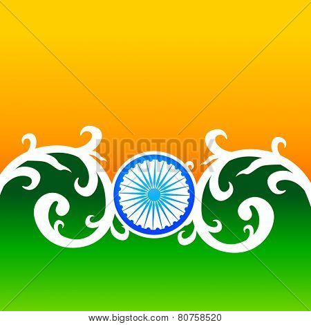 creative vector indian flag design with florals and wheel