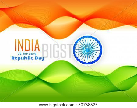 indian republic day celebrated on 26 january flag design made with tricolor wave vector design