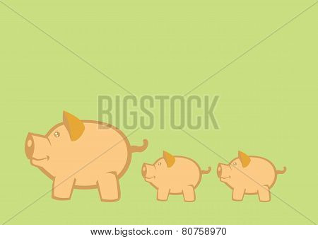 Pigs And Piglets Vector Illustration