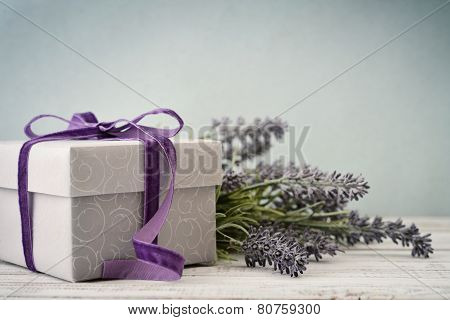 Gift Box With Bouquet Of Lavender