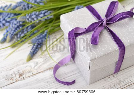 Gift Box With Bouquet Of Hyacinth