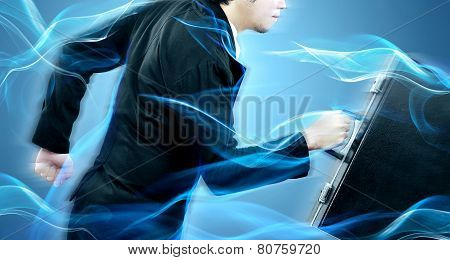 Businessman running high speed for his target before competitor