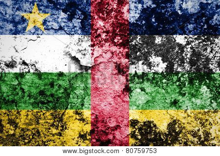 Central African Republic Flag painted on grunge wall