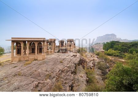 Jaswant Thada Mausoleum With Mehrangarh Fort In The Background