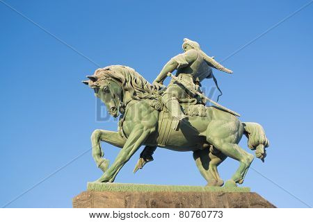 Salavat Yulaev Close Up in Ufa with Blue Sky and Frosted Bronze