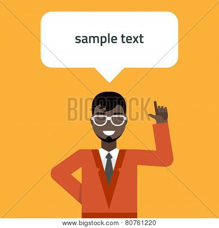 Flat Vector Illustration. Young Businessman Pointing Up. Creative Idea Concept
