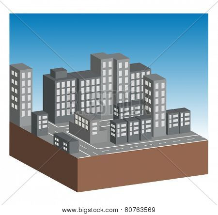 Buildings and streets in city. All on white background.