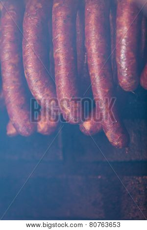 Traditional Smoked Sausages In Smokehouse.