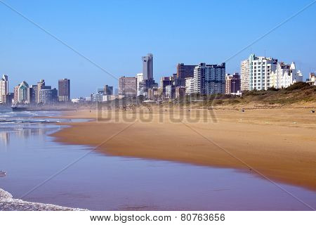 View Of Empty Beach In Durban, South Africa