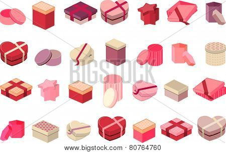 Set with different gift boxes isolated on white