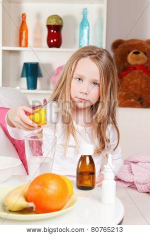 Sick Child Making Lemon Juice