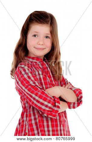 Adorable little girl with red plaid shirt isolated on a white background