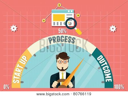 Dashboard Of Business Development. Management And Analytics