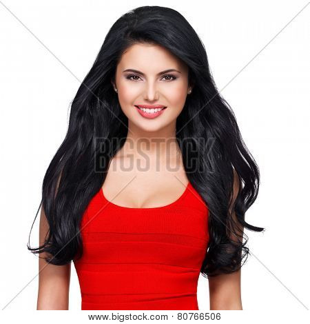 Portrait of beautiful face of an young smiling woman with long brown hair in red dress