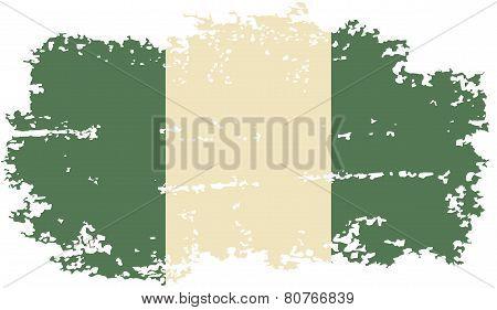 Nigerian grunge flag. Vector illustration.