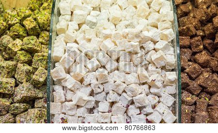 Traditional Dessert Turkish Delight for sale in the market