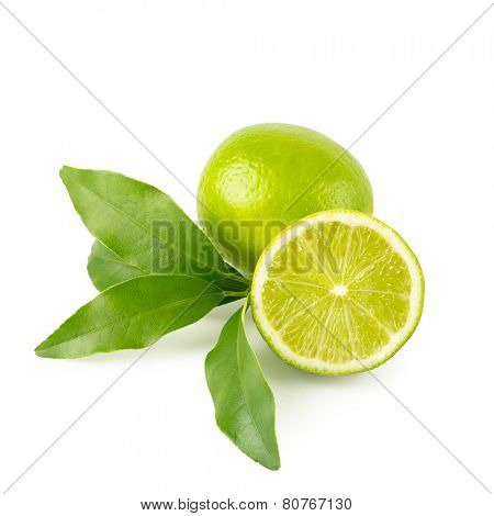 fresh lime - whole fruit, half and twig