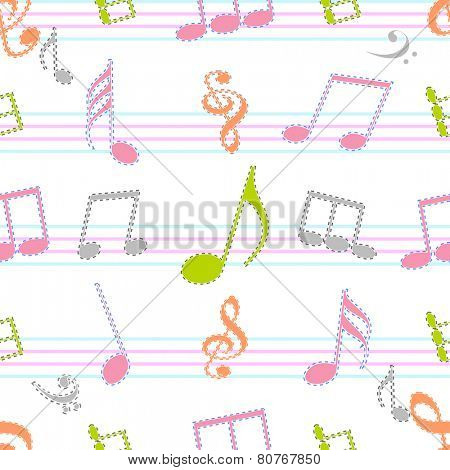 Colorful musical sign with seamless pattern.