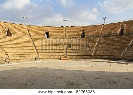 Inside the Amphitheater in Caesarea Maritima National Park