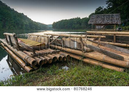 Bamboo raft on Pang Ung reservoir lake.