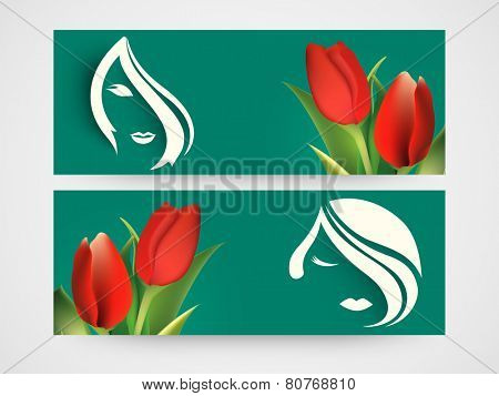 Website header or banner set with beautiful red buds of roses and sketch of young girl face.