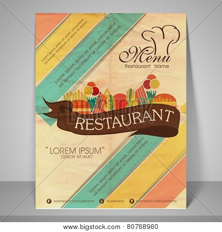 Restaurant and menu card design or flyer on retro background.