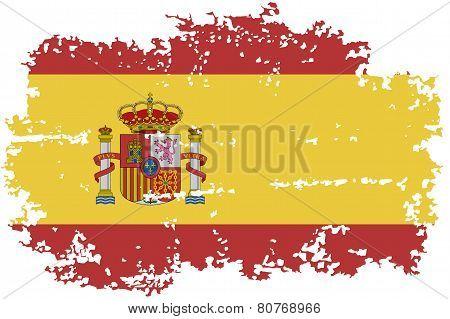 Spanish grunge flag. Vector illustration.