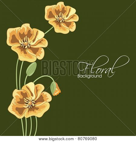 Beautiful yellow flower with bud on green background.