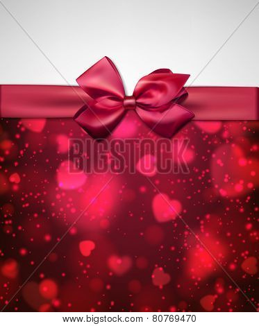 Valentine's background with magenta bow and defocused hearts. Vector illustration.