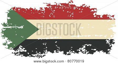 Sudanese grunge flag. Vector illustration.
