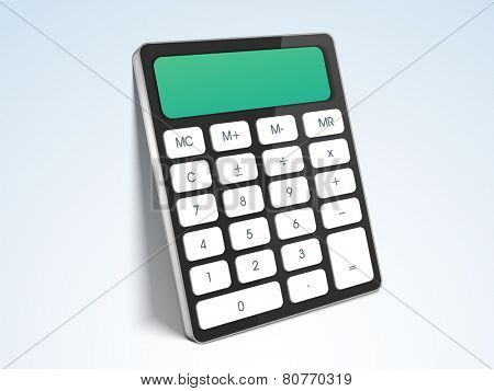 Electronic calculator on gradient background for easy calculations.